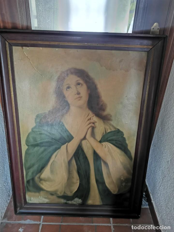 Arte: Gran cuadro de lámina, Inmaculada, años 30-40 - Foto 3 - 236330995