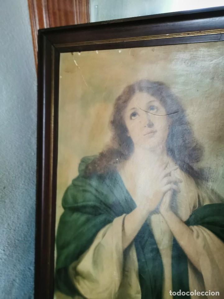 Arte: Gran cuadro de lámina, Inmaculada, años 30-40 - Foto 7 - 236330995