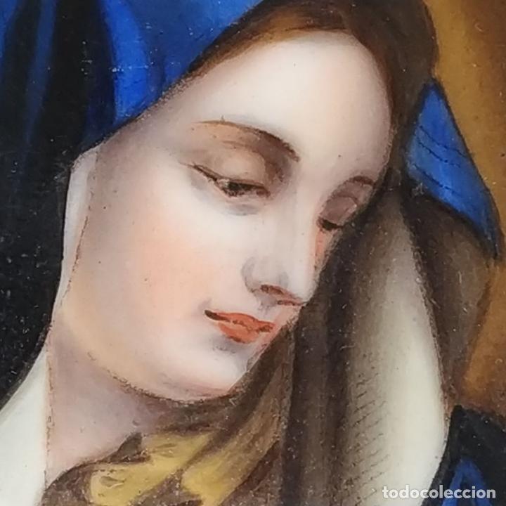 Arte: VIRGEN MARIA. ESMALTE SOBRE METAL. SÍMIL HUESO TALLADO. FRANCIA. SIGLO XIX - Foto 3 - 236342735
