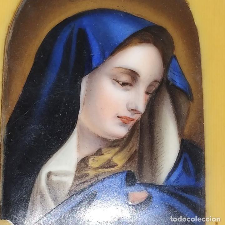 Arte: VIRGEN MARIA. ESMALTE SOBRE METAL. SÍMIL HUESO TALLADO. FRANCIA. SIGLO XIX - Foto 4 - 236342735