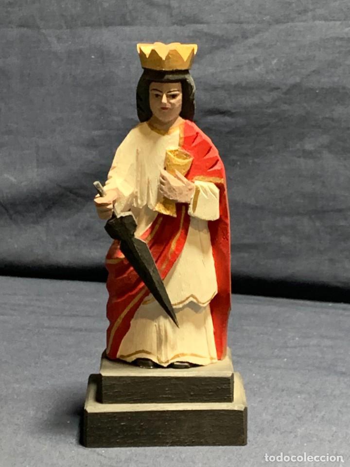 SANTA BARBARA TALLA EN MADERA ANTONIO AVILES OROCONIS PUERTO RICO AÑO 2013 17X6C (Arte - Arte Religioso - Escultura)
