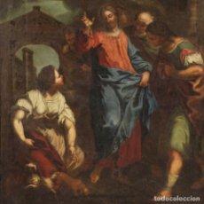 Arte: ANTIGUA PINTURA ITALIANA CRISTO Y EL CANANEO DEL SIGLO XVIII. Lote 236354210