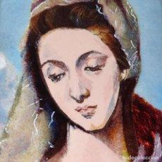 Arte: VIRGEN MARIA DE EL GRECO. ESMALTE SOBRE METAL. PLATA. MADERA. ESPAÑA. SIGLO XX. Lote 236529370