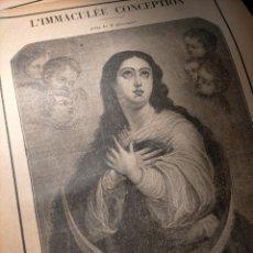 Arte: GRABADO RELIGIOSO 1890 - 1900 - VIDA DEL SANTO DIA SANTORAL - SAINTE VIRGEN INMACULADA CONCEPCION I. Lote 236633485