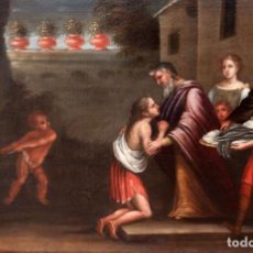 Arte: ESCUELA ESPAÑOLA DEL SIGLO XVIII. OLEO SOBRE TELA DE AUTOR ANONIMO. ESCENA BIBLICA. Lote 236689435