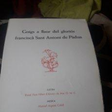 Arte: GOIGS A SANT ANTONI DE PADUA, CON XILOGRAFIA DE ENRICO TORMO. Lote 236742280