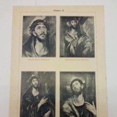 Arte: VARIANTES DEL ASUNTO CRISTO ABRAZANDO LA CRUZ Y SAN FRANCISCO POR EL GRECO - LAMINA AÑO 1900. Lote 237141010