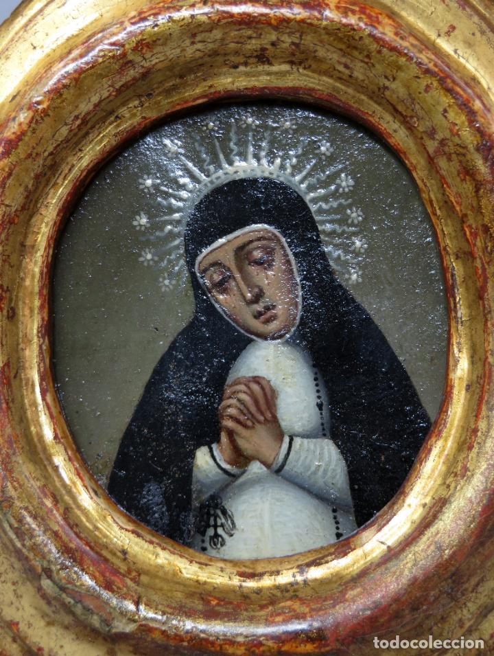 Arte: Miniatura Virgen de la Paloma óleo sobre cobre con marco de madera tallada y dorada siglo XVIII - Foto 2 - 237326630