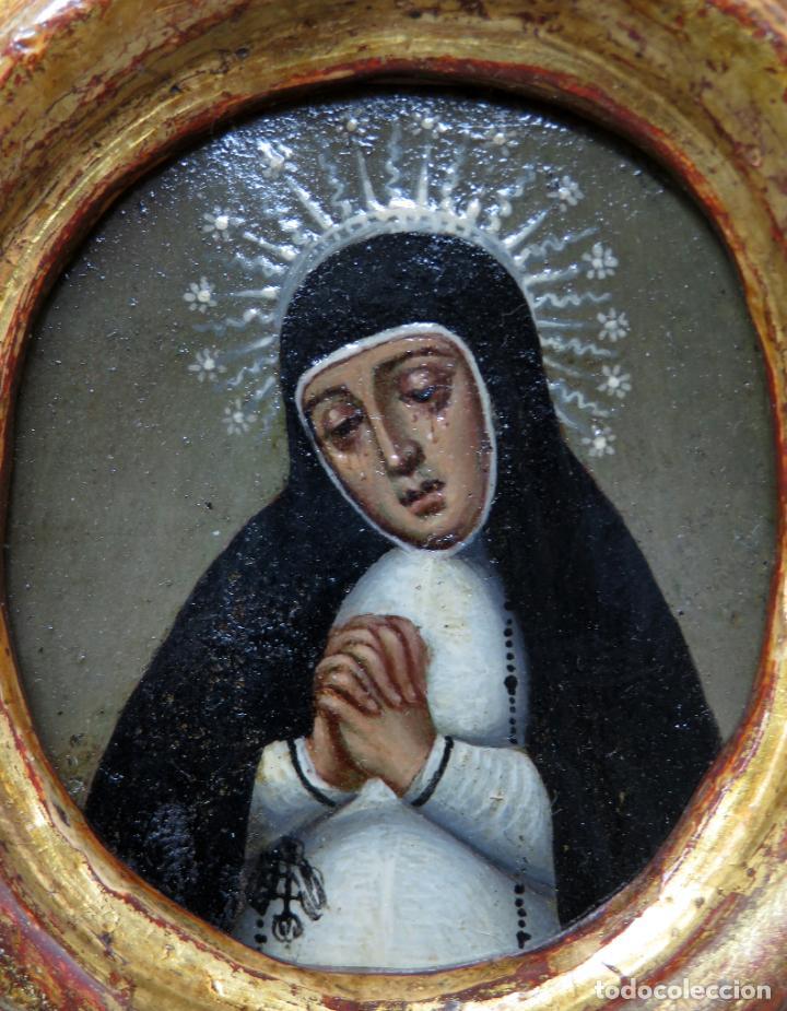 Arte: Miniatura Virgen de la Paloma óleo sobre cobre con marco de madera tallada y dorada siglo XVIII - Foto 3 - 237326630