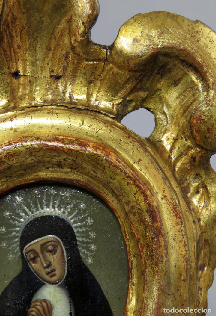 Arte: Miniatura Virgen de la Paloma óleo sobre cobre con marco de madera tallada y dorada siglo XVIII - Foto 5 - 237326630