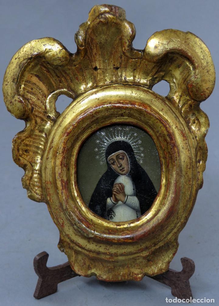 MINIATURA VIRGEN DE LA PALOMA ÓLEO SOBRE COBRE CON MARCO DE MADERA TALLADA Y DORADA SIGLO XVIII (Arte - Arte Religioso - Pintura Religiosa - Oleo)