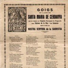 Arte: GOIGS DE SANTA MARIA DE CERDANYA - PUIGCERDÀ NTRA. SRA. DE LA SACRISTIA (GRAF. CERETÀNIA). Lote 253977255