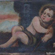 Art: SAN JUANITO. ÓLEO SOBRE LIENZO DEL SIGLO XVII, EN PRECARIAS CONDICIONES. 41 X 31 CM.. Lote 237767990