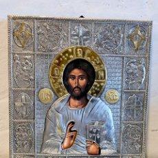 Arte: ICONO RELIGIOSO 25 X 30 CM PLATA 925. Lote 237983030