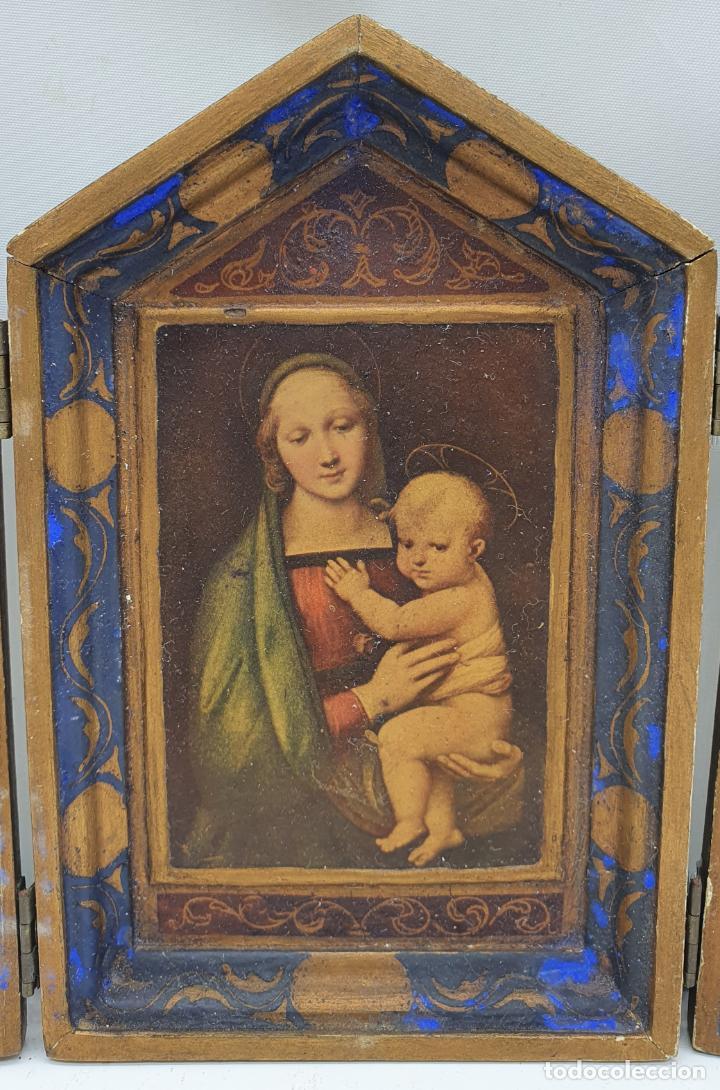 Arte: Precioso tríptico antiguo de estilo renacentista en madera con acabado en estuco . - Foto 4 - 238309120
