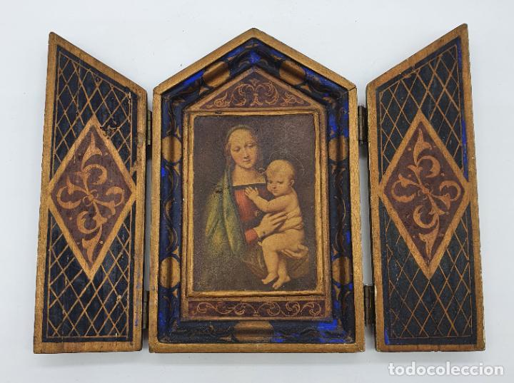 Arte: Precioso tríptico antiguo de estilo renacentista en madera con acabado en estuco . - Foto 6 - 238309120