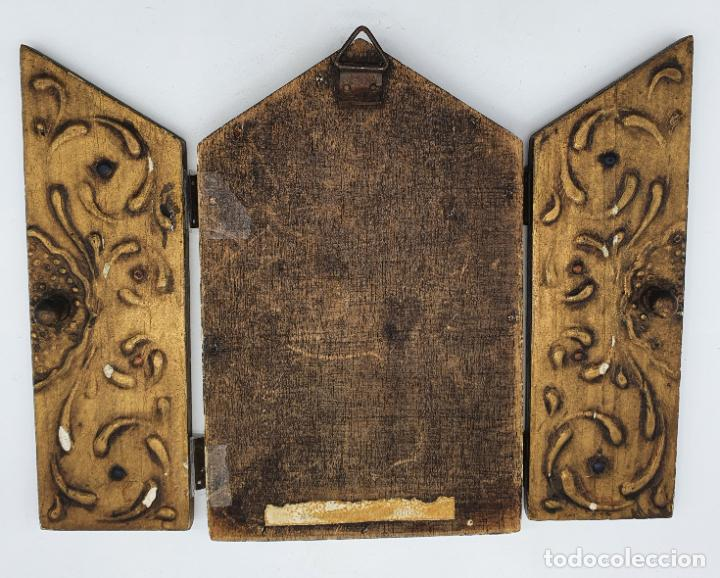 Arte: Precioso tríptico antiguo de estilo renacentista en madera con acabado en estuco . - Foto 7 - 238309120
