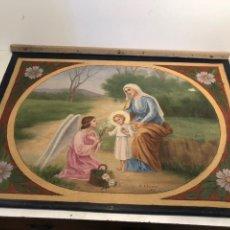 Arte: ANTIGUO TAPIZ PINTADO DE LA VIRGEN, NIÑO JESUS Y ANGEL. FIRMADO Y FECHADO 1917.. Lote 238556155