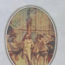 Arte: LAMINA TELA ENMARCADA DE ESTAMPACION PASION DE CRISTO. Lote 238688940