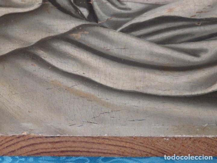 Arte: Retrato de la Virgen María. Escuela Española del siglo XVI. Óleo sobre tabla. Med: 34 x 27 cm. - Foto 18 - 48221032