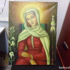 Arte: ANTIGUO OLEO DE VIRGEN SOBRE TELA FIRMADO. Lote 238808210