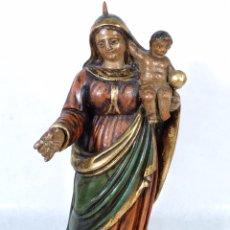 Arte: VIRGEN CON NIÑO EN TALLA POLICROMADA SIGLO XVII-XVIII ESCUELA CASTELLANA. Lote 239860865