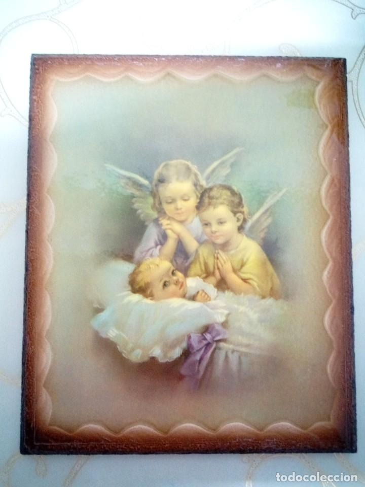 CUADRO ANGEL ANGELES. NUEVOS. PIEZAS ESPECIALES.PRECIOSOS (Arte - Arte Religioso - Retablos)