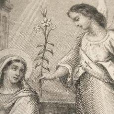 Arte: 1884 ANTIGUO GRABADO PAPEL DURO MINIATURA DE MISAL ANUNCIACION DEL ARCANGEL GABRIEL A LA VIRGEN. Lote 240116610