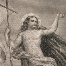 Arte: 1884 ANTIGUO GRABADO PAPEL DURO MINIATURA DE MISAL CRISTO RESUCITADO RESURRECCION. Lote 240116730