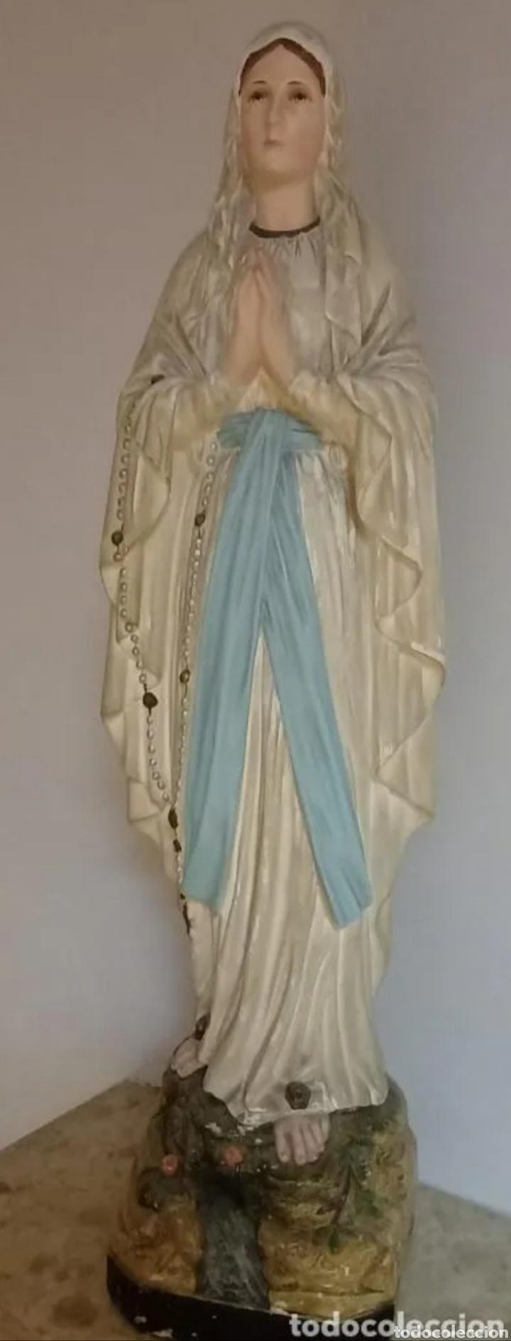 VIRGEN DE LOURDES 60 CM EN ESTADO EXCELENTE (Arte - Arte Religioso - Escultura)