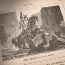 Arte: AÑO 1842 ANTIGUO GRABADO ORIGINAL RELIGIOSO SANTORAL - SAINT SAN GEORGE GEORGES JORGE. Lote 240343605