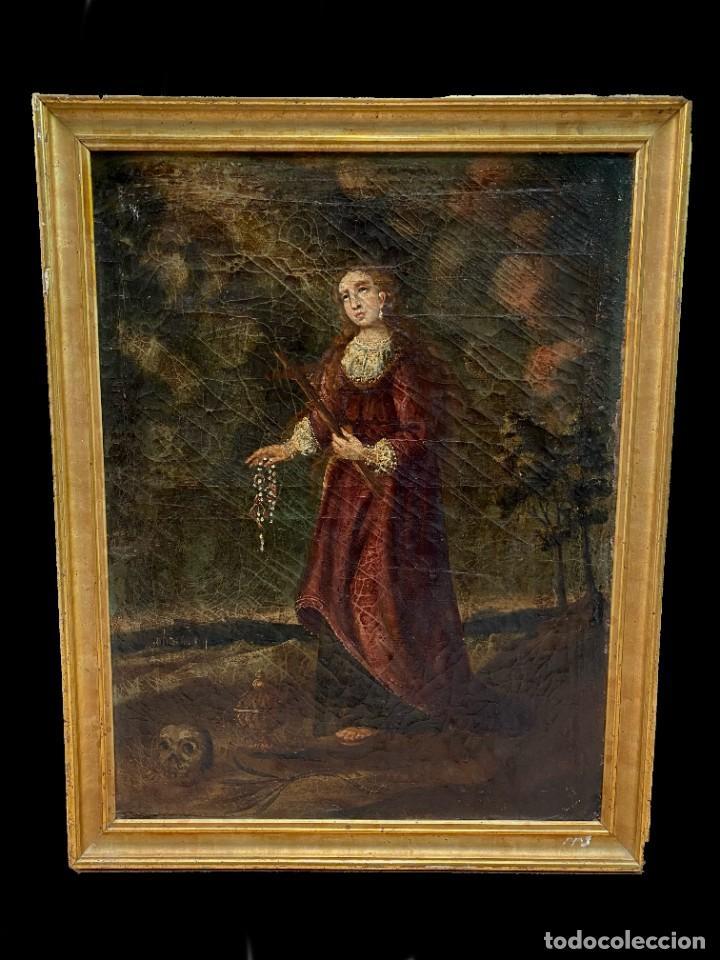 ANTIGUO ÓLEO SOBRE LIENZO DE MARÍA MAGDALENA , MARCO DORADO AL ORO FINO. PP. SIGLO XVIII. 84X65 (Arte - Arte Religioso - Pintura Religiosa - Oleo)