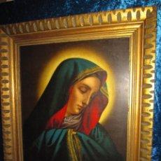 Arte: CUADRO LÁMINA CROMOLITOGRAFÍA ANTIGUA SIGLO XIX-XX VIRGEN SOLEDAD - DOLOROSA - DOLORES- VIRGEN DEDO. Lote 241034800