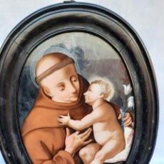 Arte: OLEO SOBRE CRISTAL.SAN ANTONIO DE PADUA.SSXVIII. Lote 241172205