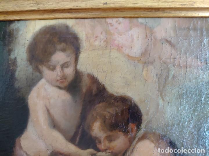 Arte: ÓLEO LIENZO REPRODUCCIÓN MURILLO LOS NIÑOS DE LA CONCHA SIGLO XVIII - Foto 6 - 241449725