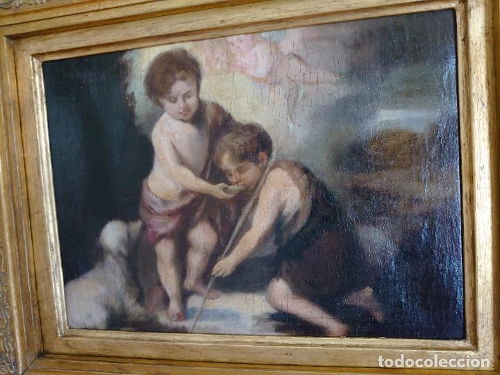 Arte: ÓLEO LIENZO REPRODUCCIÓN MURILLO LOS NIÑOS DE LA CONCHA SIGLO XVIII - Foto 5 - 241449725