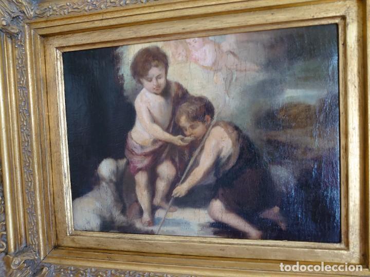 Arte: ÓLEO LIENZO REPRODUCCIÓN MURILLO LOS NIÑOS DE LA CONCHA SIGLO XVIII - Foto 3 - 241449725