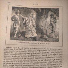 Arte: AÑO 1842 ANTIGUO GRABADO ORIGINAL RELIGIOSO SANTORAL - SAINT SAN BONIFACE BONIFACIO. Lote 241531620