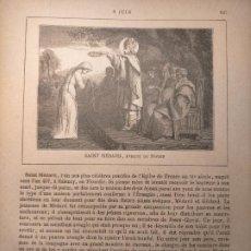 Arte: AÑO 1842 ANTIGUO GRABADO ORIGINAL RELIGIOSO SANTORAL - SAINT SAN MEDARD DE NOYON. Lote 241531685