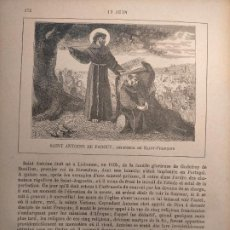 Arte: AÑO 1842 ANTIGUO GRABADO ORIGINAL RELIGIOSO SANTORAL - SAINT SAN ANTOINE DE PADOUE ANTONIO DE PADUA. Lote 241532000