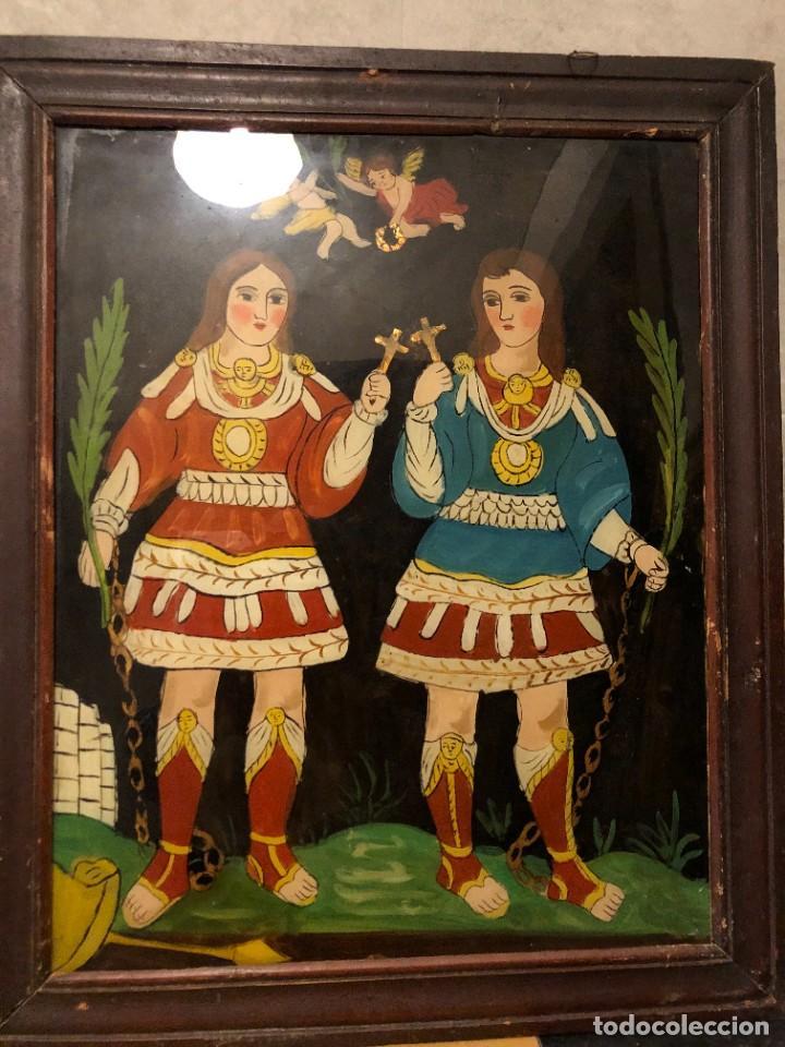 SANTOS JUSTO Y PASTOR, VIDRIO PINTADO ANTIGUO (Arte - Arte Religioso - Pintura Religiosa - Oleo)