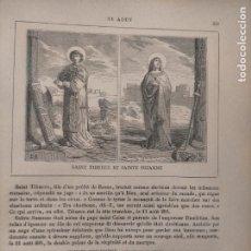 Arte: AÑO 1842 ANTIGUO GRABADO ORIGINAL RELIGIOSO SANTORAL - SAINT TIBURCE SAN SANTA SAINTE SUSANA. Lote 241759670