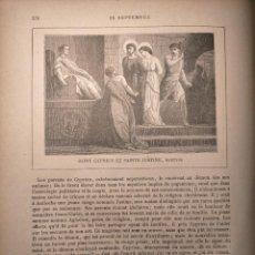 Arte: AÑO 1842 ANTIGUO GRABADO ORIGINAL RELIGIOSO SANTORAL - SAINT SAN CYPRIEN JUSTINE CIPRIANO Y JUSTINA. Lote 241777510