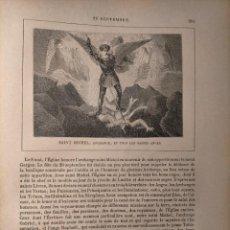 Arte: AÑO 1842 ANTIGUO GRABADO ORIGINAL RELIGIOSO SANTORAL - SAINT SAN MICHEL MIGUEL ARCANGEL. Lote 241777800