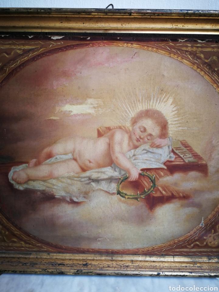 Arte: ANTIGUO ÓLEO SOBRE TELA NIÑO JESÚS (INRI), S.XIX. ENMARCADO, 58X49CM. - Foto 2 - 241886495