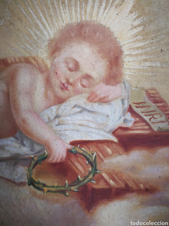 Arte: ANTIGUO ÓLEO SOBRE TELA NIÑO JESÚS (INRI), S.XIX. ENMARCADO, 58X49CM. - Foto 3 - 241886495