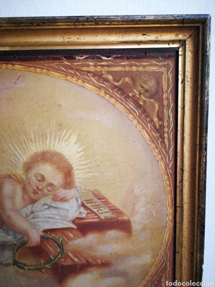 Arte: ANTIGUO ÓLEO SOBRE TELA NIÑO JESÚS (INRI), S.XIX. ENMARCADO, 58X49CM. - Foto 5 - 241886495