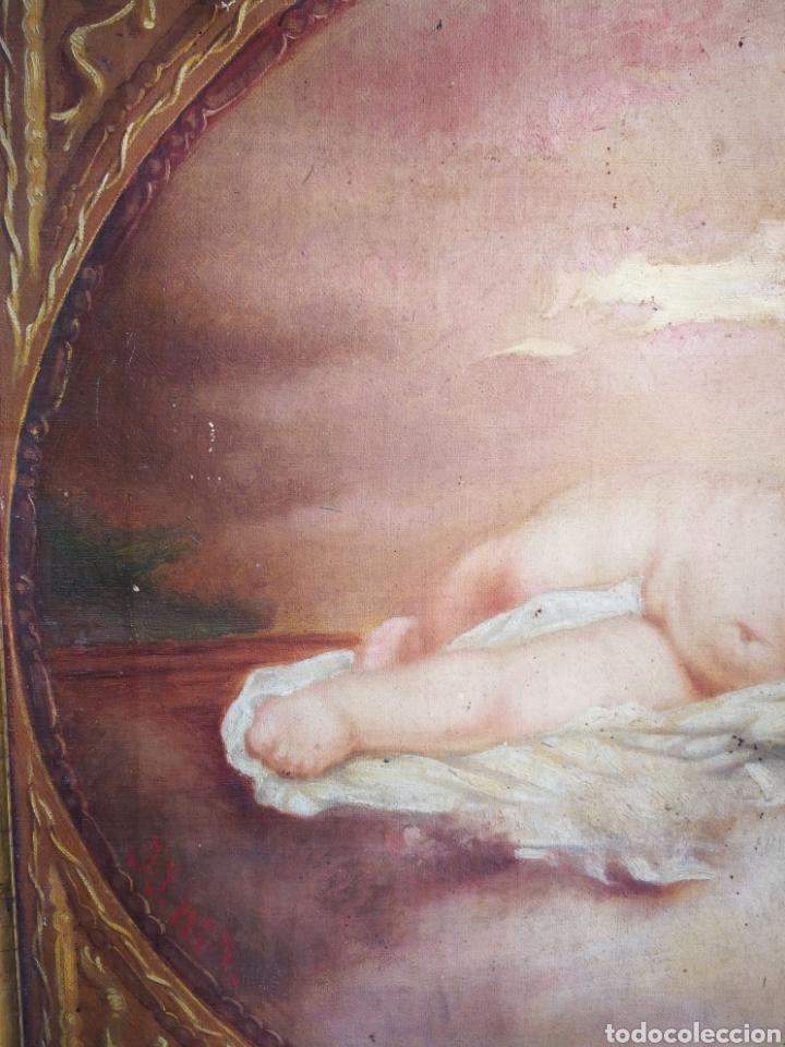 Arte: ANTIGUO ÓLEO SOBRE TELA NIÑO JESÚS (INRI), S.XIX. ENMARCADO, 58X49CM. - Foto 7 - 241886495