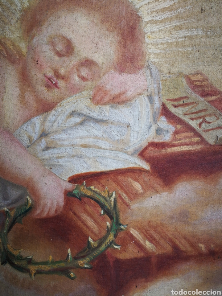 Arte: ANTIGUO ÓLEO SOBRE TELA NIÑO JESÚS (INRI), S.XIX. ENMARCADO, 58X49CM. - Foto 10 - 241886495