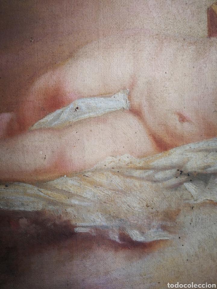 Arte: ANTIGUO ÓLEO SOBRE TELA NIÑO JESÚS (INRI), S.XIX. ENMARCADO, 58X49CM. - Foto 11 - 241886495
